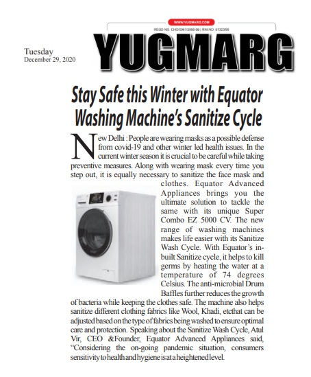 Stay Safe this Winter with Equator Washing Machine's Sanitize Cycle